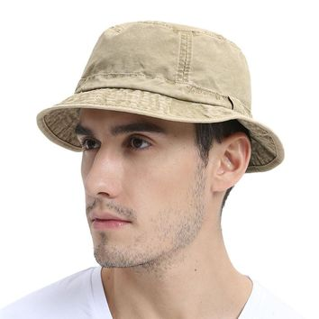 VOBOOM Washed Cotton UV Protection Bucket Hat Men Summer Boonie Hunting Fisherman Khaki Hats Travel Japanese Korea Sun Cap 163