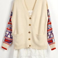Vintage Style Cardigan with Tribe Pattern Sleeves Beige E432 from topsales