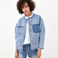 COLLARLESS DENIM JACKETDETAILS