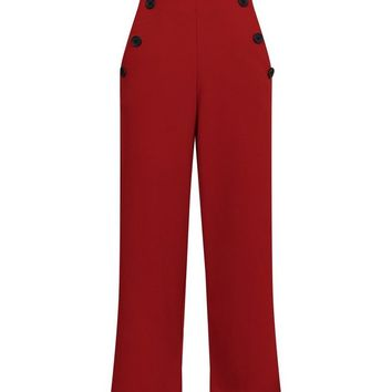 Red Scuba Button Side Cropped Trousers | New Look