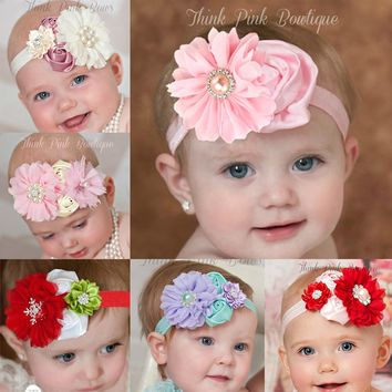 Baby Girl Flower and Rhinestone Headband