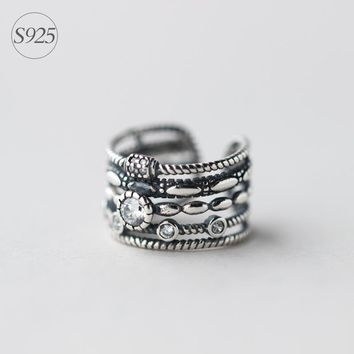 Real 925 Sterling Silver Multi-rows CZ Band Ring Openable Adjustable size with Twist Rope Round CZ Retro GTLJ639
