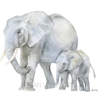Elephants Watercolor Painting - Giclee Print Reproduction - 8x10 / 8.5x11 - Nursery Art - Mother and Baby