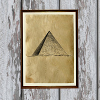 Egypt pyramid occult print Antique paper Antiqued decoration 8.3 x 11.7 inches