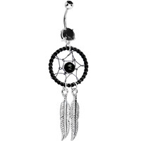 Black Gem Twisted Web Dreamcatcher Dangle Belly Ring | Body Candy Body Jewelry