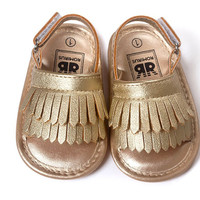 Gold Fringe- PU Leather Moccs