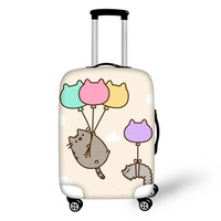 FORUDESIGNS Pusheen Cat Suitcase Cover for 18-28 Inch Trolley Dustproof Cartoon Case Cover Cute Cat Baggage Travel Accessories