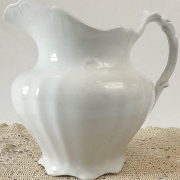 Antique White Ironstone Pitcher Ewer Knowles Taylor Knowles Embossed Vase Centerpiece KTK Granite