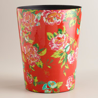 Coral Floral Trash Can - World Market