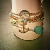 Nautical, mermaid, tahitan, chain link, stacked bracelets, boho, bohemian, hippie, sailor, silver, anchor, turquiose, sea glass