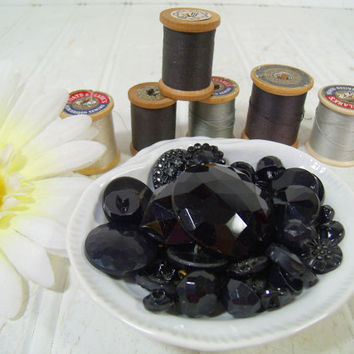Vintage Variety of Antique Onyx Black Glass Buttons Collection - 54 Faceted Buttons for Sewing Crafts Arts Repurposing Upscaling Upcycling