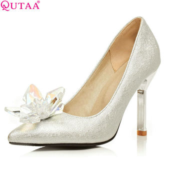 Women Pumps Ladies Shoes Thin High Heel PU Leather Pointed Toe Rhinestone Solid Silver Woman Wedding Shoes Size 34-43