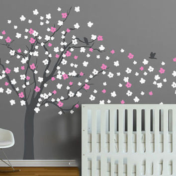 Cherry Blossoms Nuesery Tree Wall Sticker Vinyl Baby Kids Bedroom Art Decorative Wall Mural Nursery Tree Beauty Decals D-324