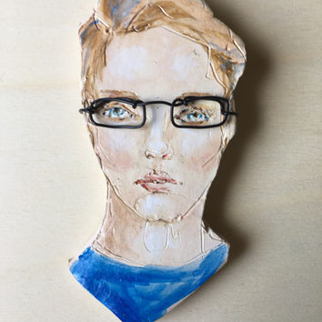 Painted Clay portrait - Pale Nerd -  Man with eyeglasses - home décor - Whimsical Art