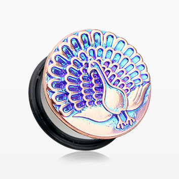 A Pair of The Iridescent Peacock Dazzle Ear Gauge Plug