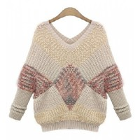 Stylish V-Neck Color Block Knitted Pullover Sweater For Women