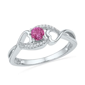 Sterling Silver Women's Round Lab-Created Pink Sapphire Solitaire Heart Ring 1/6 Cttw - FREE Shipping (US/CAN)