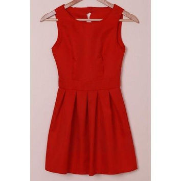 Elegant Round Collar Sleeveless Scalloped Hollow Out Red Dress For Women