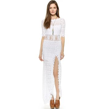Nightcap Clothing Florence V Back Lace Gown White