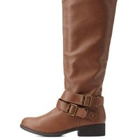 Cognac Belted Knee-High Riding Boots by Charlotte Russe
