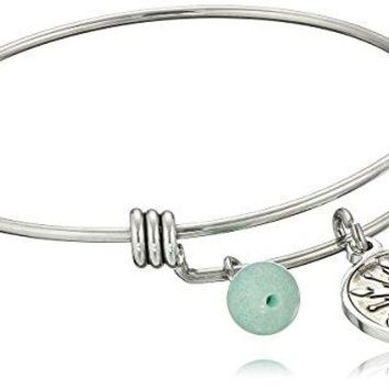 Disney Stainless Steel Catch Bangle with Silver Plated Snowflake Let it Go and Amazonite Bead Charm Bangle Bracelet