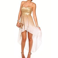 Oceana-IvoryBronze Homecoming Dress