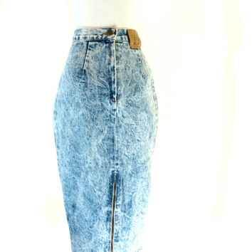 Vintage Acid Wash Skirt / Long Jean Skirt / High Waisted Denim Skirt / 80s Jean Skirt XS S