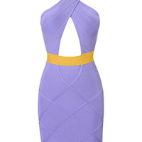 Sexy Cut Crisscross Purple Party Bodycon Bandage Dress
