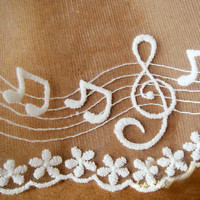 Embroidered Cotton Gauze Lace Material With Music Symbols