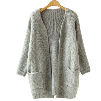 Solid Color Pocket Loose Sweater Female Long Sweater Cardigan Sweater