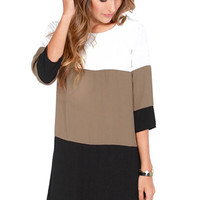 3/4 Sleeve Color Block Skirt