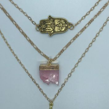 Hamsa Hand with Rose Quartz Druzy and Star Triple Layered Gold Necklace