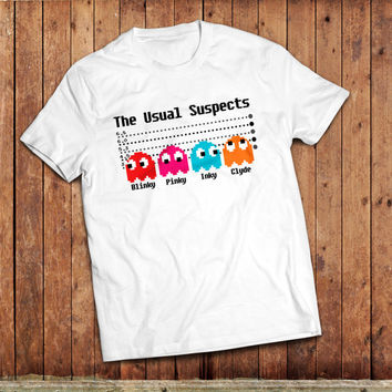 Pacman Usual Suspects T-Shirt, movie mash up, Vintage gaming PC, classic 1980's,
