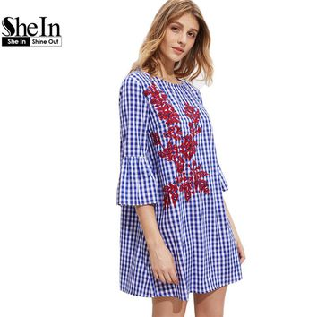 SheIn Summer Dresses Fluted Sleeve Vine Embroidered Gingham Dress Women Three Quarter Length Sleeve Plaid Dress