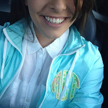 Lilly Pulitzer applique monogram on a Charles Rivers Beachcomber Jacket