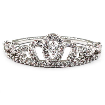sweety crown crystal silver ring