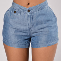 Goin With The Flow Shorts - Indigo