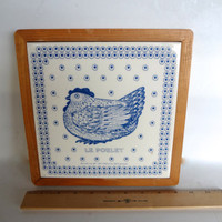 Vintage Large Taylor Ng Trivet Or Wall Decor Le Poulet Some Wear 9 And 1/8 inches Square Ceramic Tile & Wood