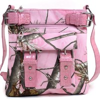 Realtree APG Pink Cross Body Messenger Bag, Womens Pink Camo Purse Shoulder Bag