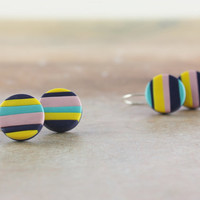 Colorful polymer clay earrings, striped and bright, blue, yellow, pink