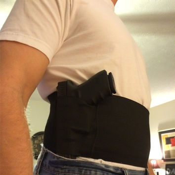 Cheap Concealed Carry Belly Band Gun Pistol Holster + 2 Mag Pouches WAIST For Colt 1911 hk usp compact P226 Beretta M9 M92fs