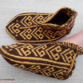 Turkish Anatolian hand knitted women's or men's unique winter slippers, slipper socks, house socks.