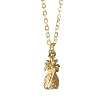 Mini Pineapple Charm Necklace in Gold