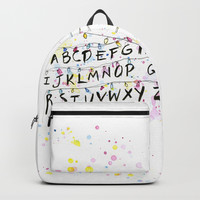 Alphabet Wall Christmas Lights Backpack by olgashvartsur