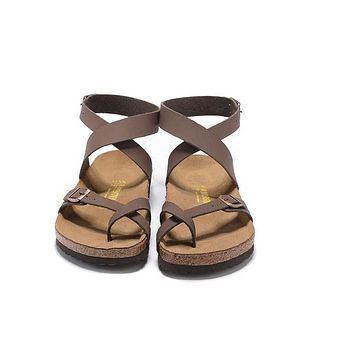 2017 Newest Birkenstock Summer Fashion Leather Cork Flats Beach Lovers Slippers Casual