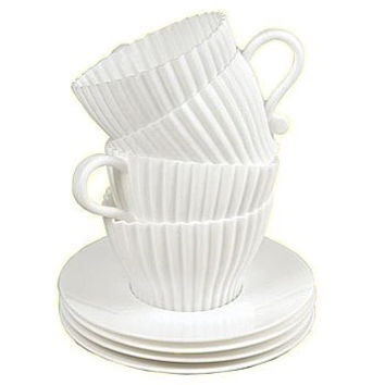 Set of 4 Silicone Tea Cups Cupcake Molds