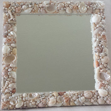 Shell Mirror, Seashell Mirror, Beach Decor, Costal Decor, Nautical Decor