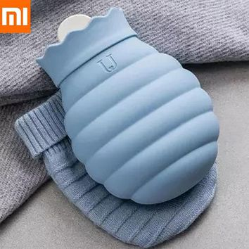 Xiaomi 313 / 620ml Hot Water Bag Microwave Heating Silicone Bottle Winter Heater With Knitted Cover Warmer Hot water bottle