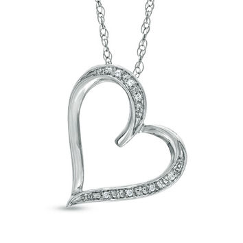 Diamond Accent Tilted Heart Pendant in Sterling Silver - View All Necklaces - Zales