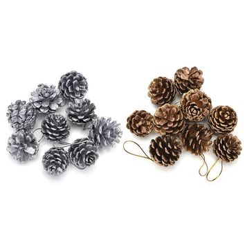 Christmas Tree Hanging Pine Cones Wood Pinecone Balls For Home Office Party Decoration Ornament Gold Silver Color 9pcs/Set